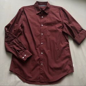 Perry Ellis Button Down Dress Shirt in Burgundy
